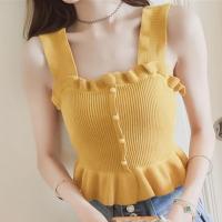 Button Patched  Women Fashion Ruffled Tank Top - Yellow