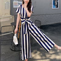 Short Sleeves Round Neck Stripes Printed Romper Dress - Blue and White