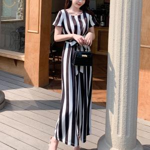 Short Sleeves Round Neck Stripes Printed Romper Dress - Black And White