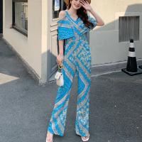 Short Sleeves V Neck Boho Printed Romper Dress - Blue
