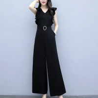 Solid Color Bell Bottom Style Sleeveless Jumpsuit Romper Dress