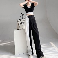 Contrast Casual Wear Two Piece Short Sleeves Suit - Black and White