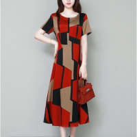 Geometric Patched Short Sleeves Midi Dress - Red