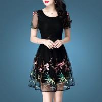 Thin Fabric Round Neck Thread Art Gown Mini Dress