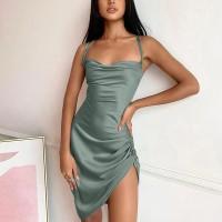 Irregular Bodycon Spagheti Strapped Mini Dress - Green