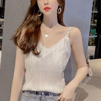 Strapped Shoulder Mesh Pattern Summer Wear Top - White
