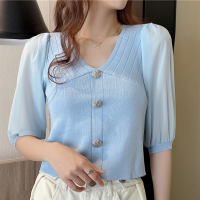 Button Patched Half Sleeves V Neck Top - Blue