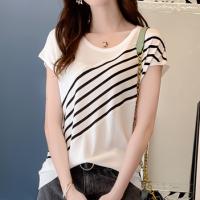 Stripes Printed Round Neck Short Sleeved T-Shirt - White