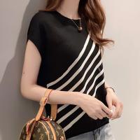 Stripes Printed Round Neck Short Sleeved T-Shirt - Black