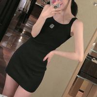 Strap Shoulder Solid Color Body Fitted Mini Dress - Black