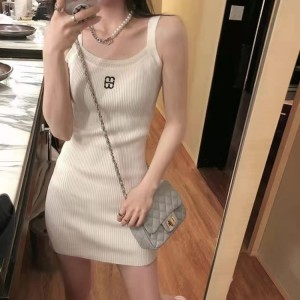 Strap Shoulder Solid Color Body Fitted Mini Dress - White
