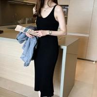 Ribbed Midi Body Fitted Strap Shoulder Dress - Black