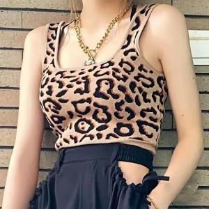 Leopard Prints Strap Shoulder Sleeveless Mini Top - Khaki