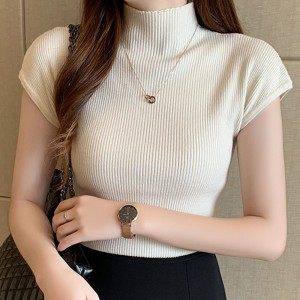 High Neck Ribbed Short Sleeves Mini Top - Apricot
