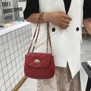 Small Square rhombus chain Shoulder Crossbody Bag - Wine Red