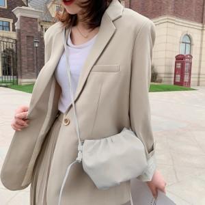 Tiny Luxury Small Soft Wrinkled Dumpling Shoulder Bag - Cream White