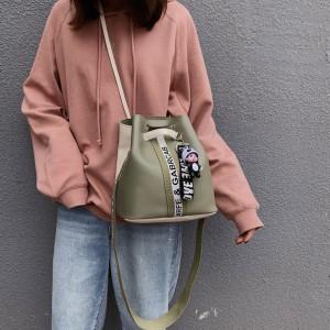Long Sling Geometric Front Patterns Shoulder Bag - Green