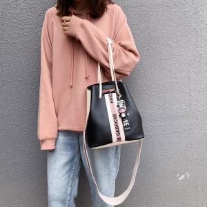 Long Sling Geometric Front Patterns Shoulder Bag - Black