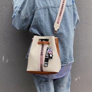 Long Sling Geometric Front Patterns Shoulder Bag - Beige