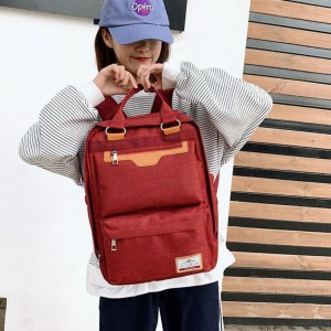 Simple Large Capacity Fashion Leisure Backpack - Wine Red