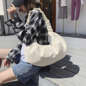 Candy Color Fold Cloud Large Capacity Handbags - White
