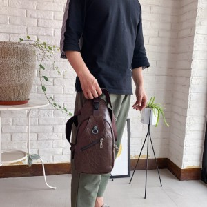 USB Charge Chest Pack Leisure Travel Small Bag - Coffee