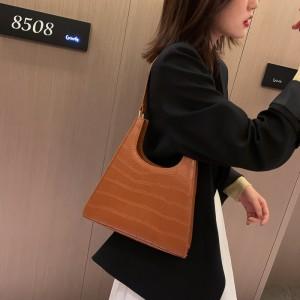 Fashion Elegant Crocodile Grain Handbags - Brown