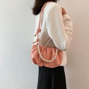 Fresh Sweet Lovely Pearl Chain Cloud Handbag - Pink
