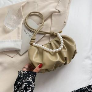 Fresh Sweet Lovely Pearl Chain Cloud Handbag - Light Green