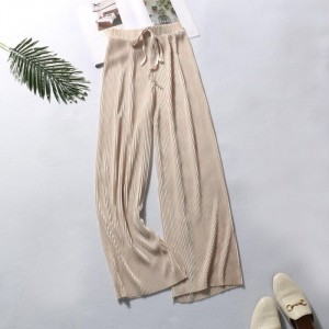 Ribbed Fashion Closure String Comfy Wear Trouser - Yellow