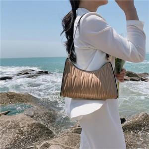 Fashion Pleated Armpit Simple Elegant Handbag - Khaki