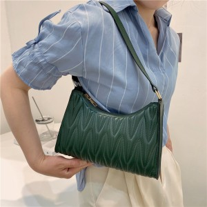 Fashion Pleated Armpit Simple Elegant Handbag - Dark Green