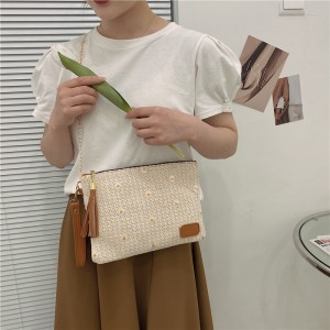 Luxury Sunflower Embroidery Gold Chain Shoulder Bag - Beige
