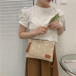 Luxury Sunflower Embroidery Gold Chain Shoulder Bag - Brown