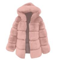 Zipper Patchwork Furry Full Sleeves Jacket - Pink