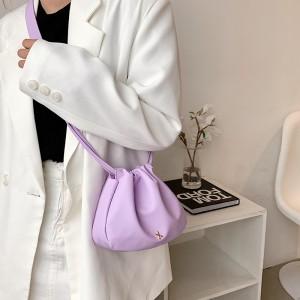 New Fashion Flung Pure Color Simple Fold Shoulder Bag - Purple