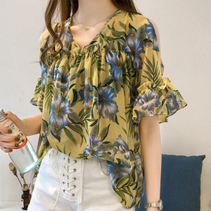 V Neck Cold Shoulder Printed Beach Wear Top - Yellow