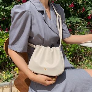 New Fashion Flung Pure Color Simple Fold Shoulder Bag - Beige