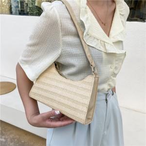 Girls Fashion Straw Beach Handbag - Khaki