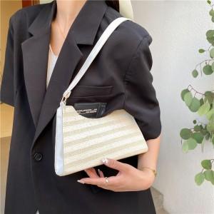 Girls Fashion Straw Beach Handbag - Beige