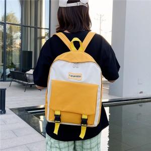 Cute Nylon Large Capacity Student Travel Backpack Bag - Yellow
