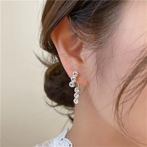 Premium Three Diamond Ear Studs - Silver