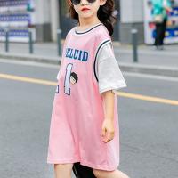 Round Neck Alphabetic Print Girls Dress - Pink