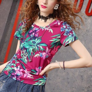 Round Neck Short Sleeves Body Fitted T-Shirt - Purple