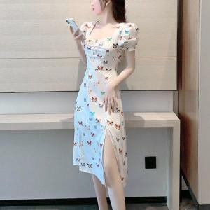 Butterfly Printed Short Sleeves Split Hem Midi Dress