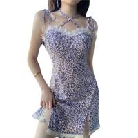 Lace Patched Printed Spaghetti Strap Mini Dress - Purple