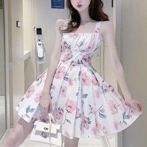 Strap Shoulder Floral Print A-Line Mini Dress - White