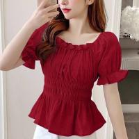 Off Shoulder Short Sleeve Solid Color Blouse Top - Red