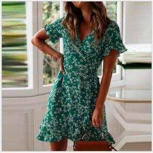 V Neck Wrapped Short Sleeves Floral Print Mini Dress - Green