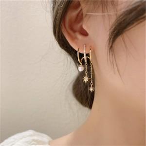 Star Three Layer Tassel Long Pearl Ear Stud - Golden